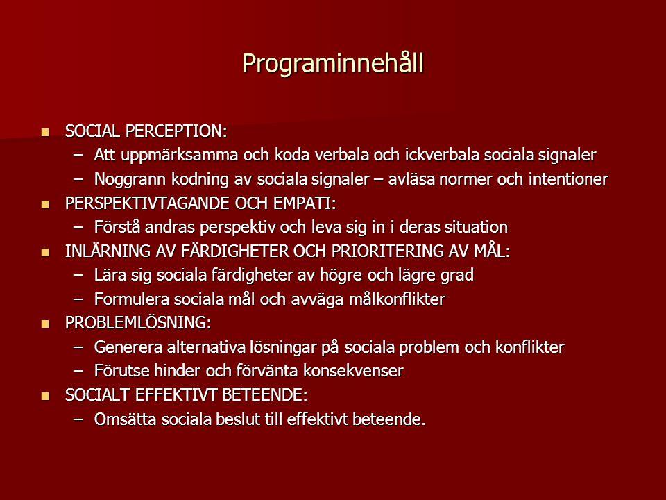 Programinnehåll  SOCIAL PERCEPTION: –Att uppmärksamma och koda verbala och ickverbala sociala signaler –Noggrann kodning av sociala signaler – avläsa