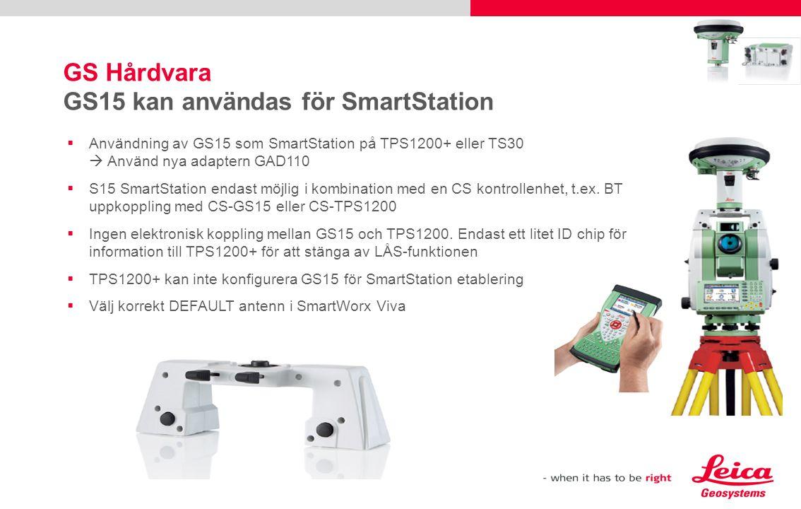 GS Hårdvara GS15 kan användas för SmartStation  Användning av GS15 som SmartStation på TPS1200+ eller TS30  Använd nya adaptern GAD110  S15 SmartSt