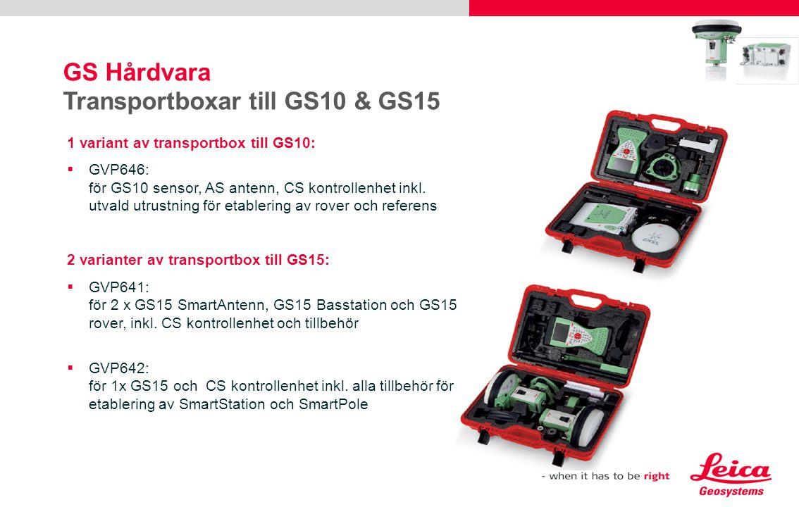 GS Hårdvara Transportboxar till GS10 & GS15 1 variant av transportbox till GS10:  GVP646: för GS10 sensor, AS antenn, CS kontrollenhet inkl. utvald u