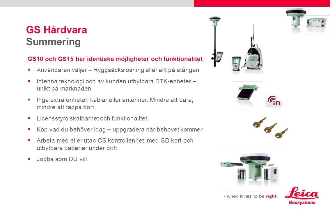 GS Hårdvara Summering GS10 och GS15 har identiska möjligheter och funktionalitet  Användaren väljer – Ryggsäckslösning eller allt på stången  Intenn