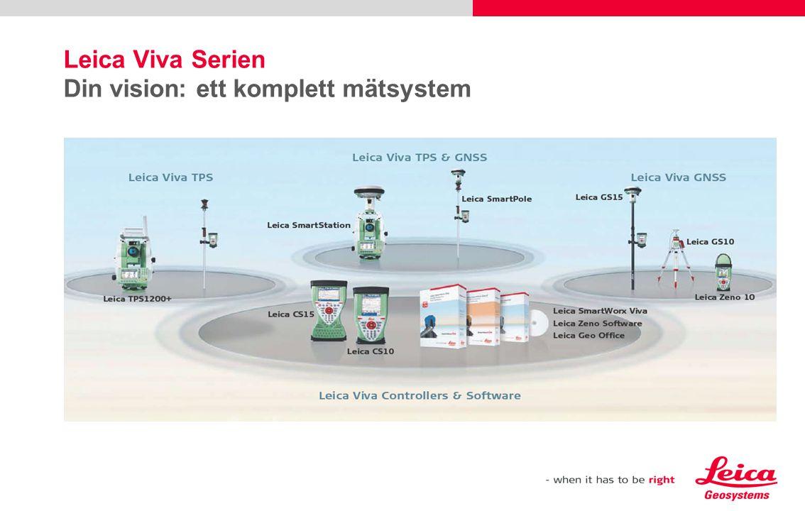 Leica Viva GNSS Din vision: ett mångsidigt GNSS system Beprövad teknologi  SmartCheck  SmartTrack  SmartRTK Jobbar som DU vill  Utbytbara RTK-enheter  Fullt skalbar sensor för senare uppgradering Ruggad  Fullt integrerad trådlös Intenna teknologi  IP67 skyddad mot damm, fukt och tillfällig nedsänkning i vatten till 1 m  Byggd för extrema temperaturer -40°C till + 65°C GS15 GS10