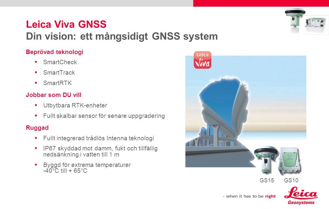 Leica Viva GNSS Din vision: ett mångsidigt GNSS system Beprövad teknologi  SmartCheck  SmartTrack  SmartRTK Jobbar som DU vill  Utbytbara RTK-enhe