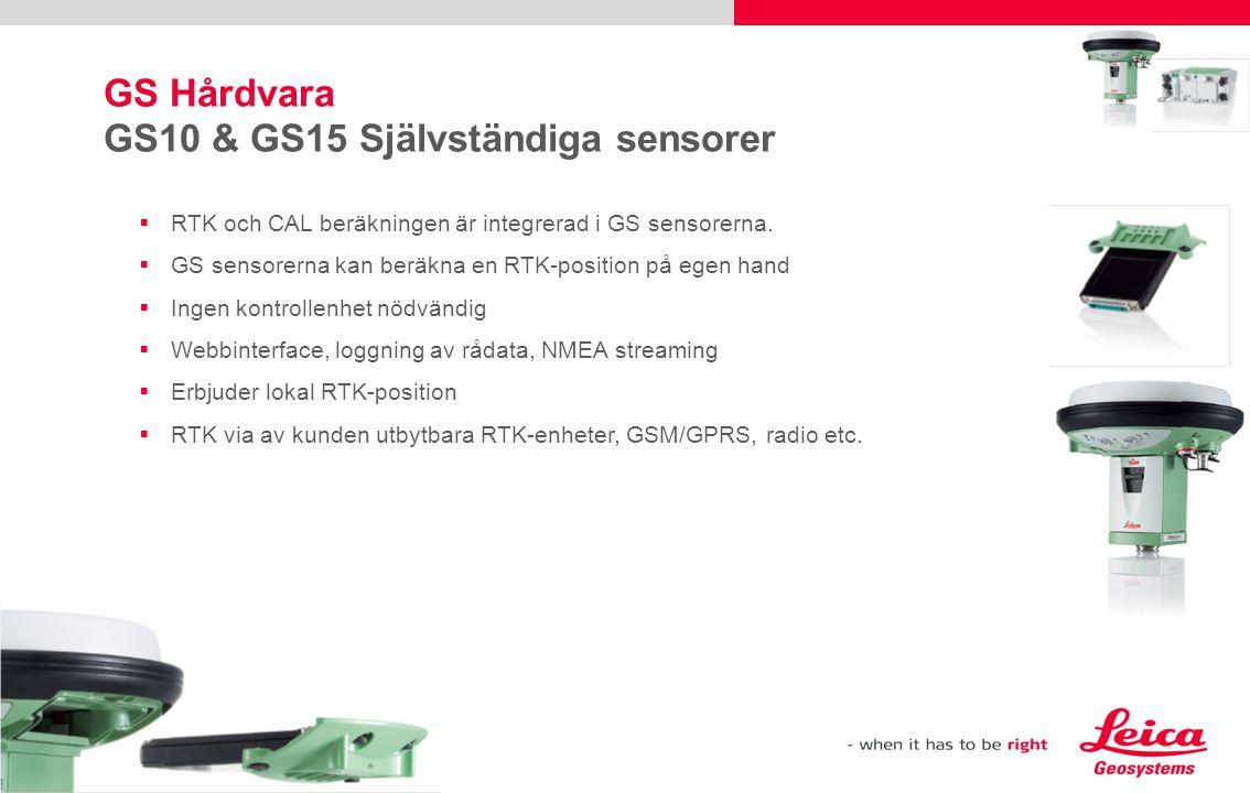  RTK och CAL beräkningen är integrerad i GS sensorerna.  GS sensorerna kan beräkna en RTK-position på egen hand  Ingen kontrollenhet nödvändig  We