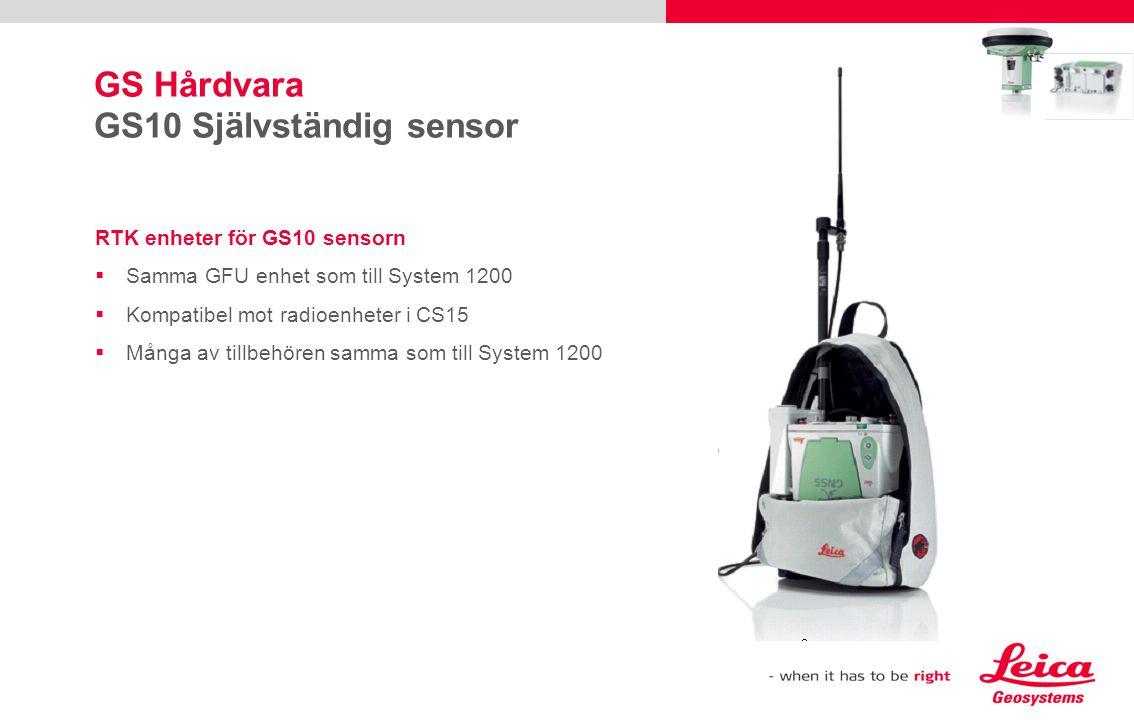 RTK enheter för GS10 sensorn  Samma GFU enhet som till System 1200  Kompatibel mot radioenheter i CS15  Många av tillbehören samma som till System