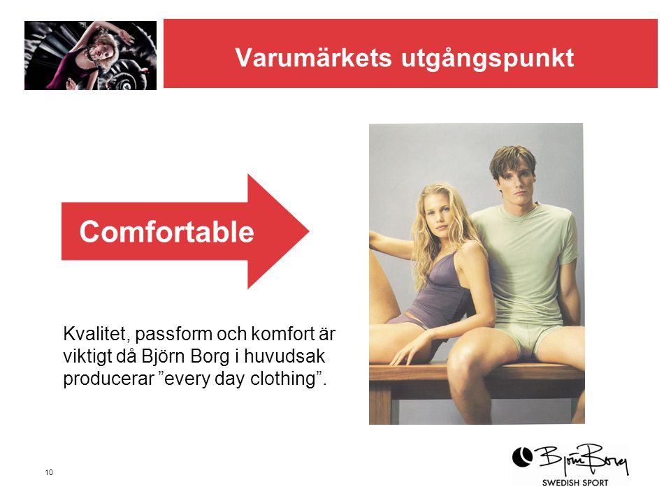 """10 Varumärkets utgångspunkt Kvalitet, passform och komfort är viktigt då Björn Borg i huvudsak producerar """"every day clothing"""". Comfortable"""