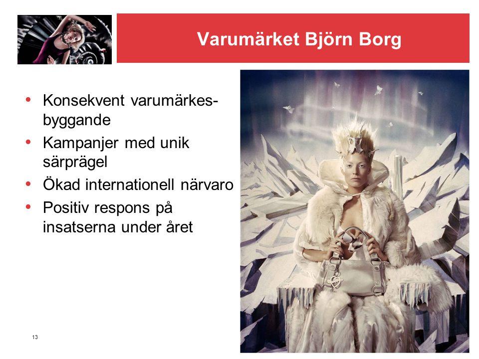 13 Varumärket Björn Borg • Konsekvent varumärkes- byggande • Kampanjer med unik särprägel • Ökad internationell närvaro • Positiv respons på insatsern