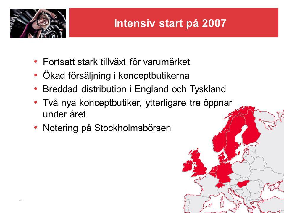 21 Intensiv start på 2007 • Fortsatt stark tillväxt för varumärket • Ökad försäljning i konceptbutikerna • Breddad distribution i England och Tyskland