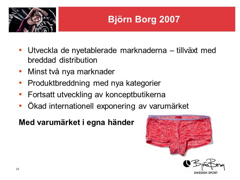 28 Björn Borg 2007 • Utveckla de nyetablerade marknaderna – tillväxt med breddad distribution • Minst två nya marknader • Produktbreddning med nya kat