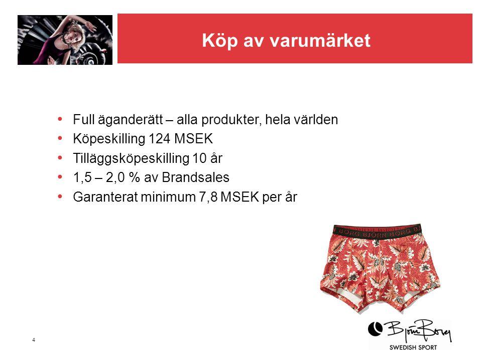 4 Köp av varumärket • Full äganderätt – alla produkter, hela världen • Köpeskilling 124 MSEK • Tilläggsköpeskilling 10 år • 1,5 – 2,0 % av Brandsales
