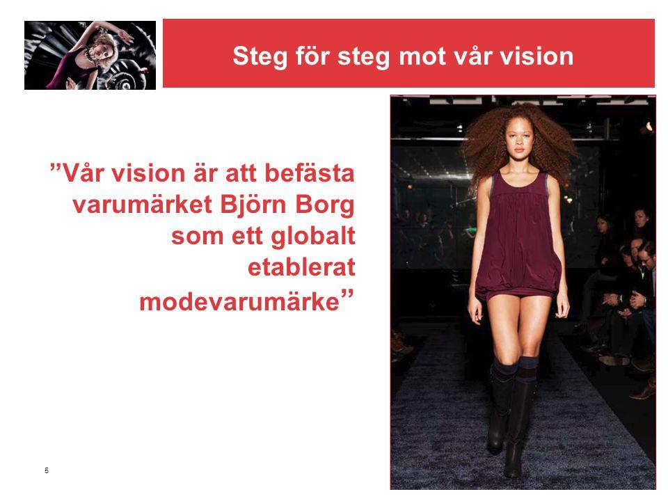 """5 """"Vår vision är att befästa varumärket Björn Borg som ett globalt etablerat modevarumärke """" Steg för steg mot vår vision"""