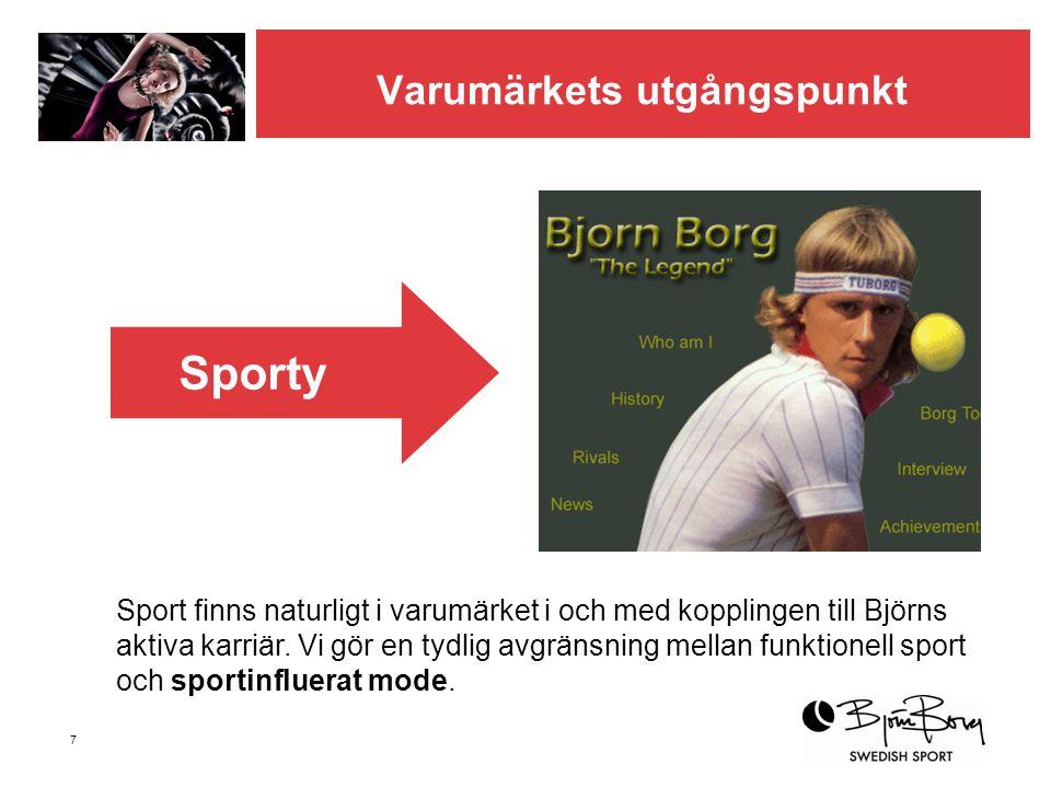 7 Varumärkets utgångspunkt Sport finns naturligt i varumärket i och med kopplingen till Björns aktiva karriär. Vi gör en tydlig avgränsning mellan fun