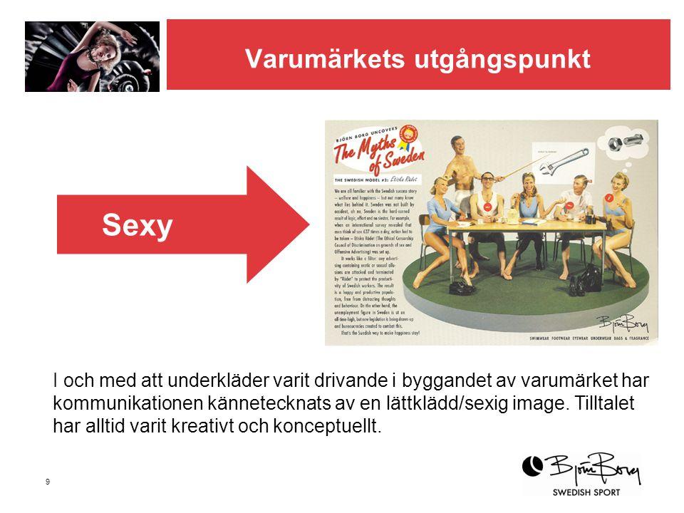 9 Varumärkets utgångspunkt I och med att underkläder varit drivande i byggandet av varumärket har kommunikationen kännetecknats av en lättklädd/sexig