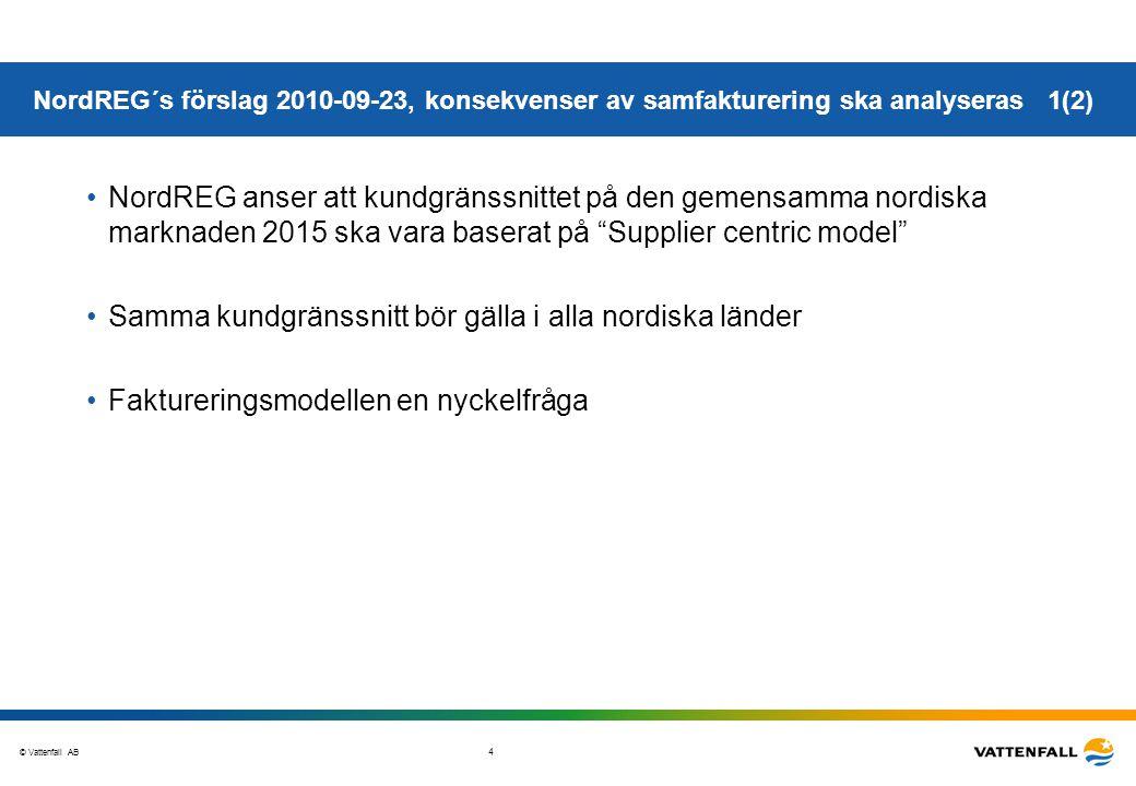 © Vattenfall AB 5 •Q1, 2011 – efter analys tar NordREG ställning i frågan om obligatorisk samfakturering •Frivillig samfakturering – alternativ där varje land tar eget beslut –Nätföretaget ska möjliggöra samfakturering via elhandelsföretaget om elhandelsföretaget så önskar – nätföretaget kan inte säga nej, eller; –Om nätföretaget accepterat samfakturering via ett elhandelsföretag måste samma erbjudande gälla alla elhandelsföretag •Slutsats vid frivillig samfakturering –För elhandelsföretag som är verksamma i flera nordiska länder gäller olika villkor beroende på vilket alternativ respektive land tillämpar –Elhandelsföretag kan avstå ifrån samfakturering; inget krav på förändring •Detta kan innebära att nätföretagen måste ha processer och IT-system som gör det möjligt att producera två informations-mängder för fakturering, 1.Egen nätfakturering till kund 2.Information till elhandlaren som i sin tur fakturerar kund en kombinerad faktura NordREG´s förslag 2010-09-23, konsekvenser av samfakturering ska analyseras 2(2)