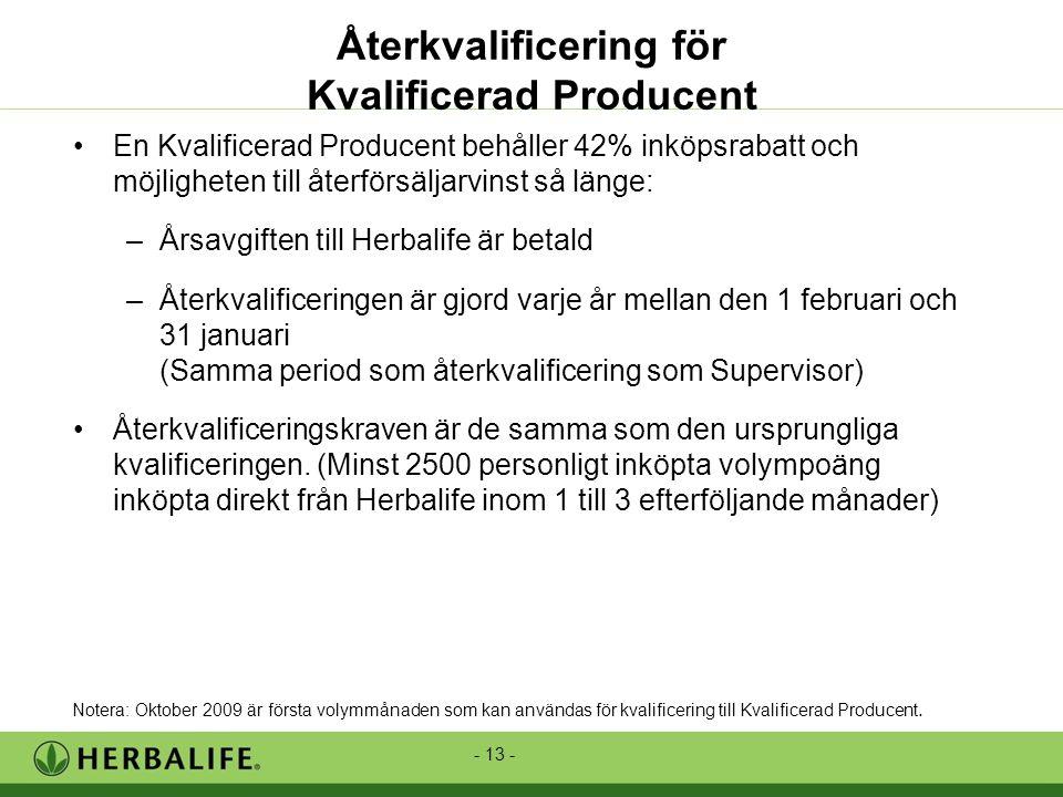 - 13 - •En Kvalificerad Producent behåller 42% inköpsrabatt och möjligheten till återförsäljarvinst så länge: –Årsavgiften till Herbalife är betald –Återkvalificeringen är gjord varje år mellan den 1 februari och 31 januari (Samma period som återkvalificering som Supervisor) •Återkvalificeringskraven är de samma som den ursprungliga kvalificeringen.