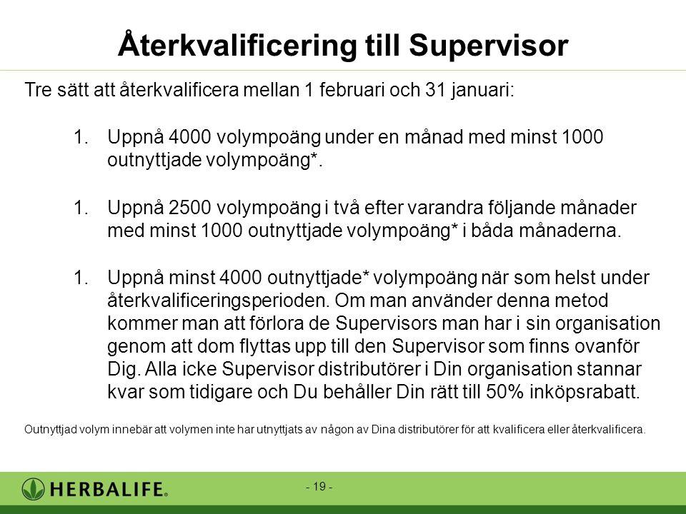 - 19 - Återkvalificering till Supervisor Tre sätt att återkvalificera mellan 1 februari och 31 januari: 1.Uppnå 4000 volympoäng under en månad med minst 1000 outnyttjade volympoäng*.