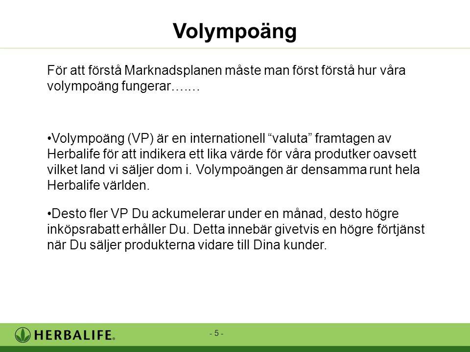 - 5 - Volympoäng För att förstå Marknadsplanen måste man först förstå hur våra volympoäng fungerar….… •Volympoäng (VP) är en internationell valuta framtagen av Herbalife för att indikera ett lika värde för våra produtker oavsett vilket land vi säljer dom i.