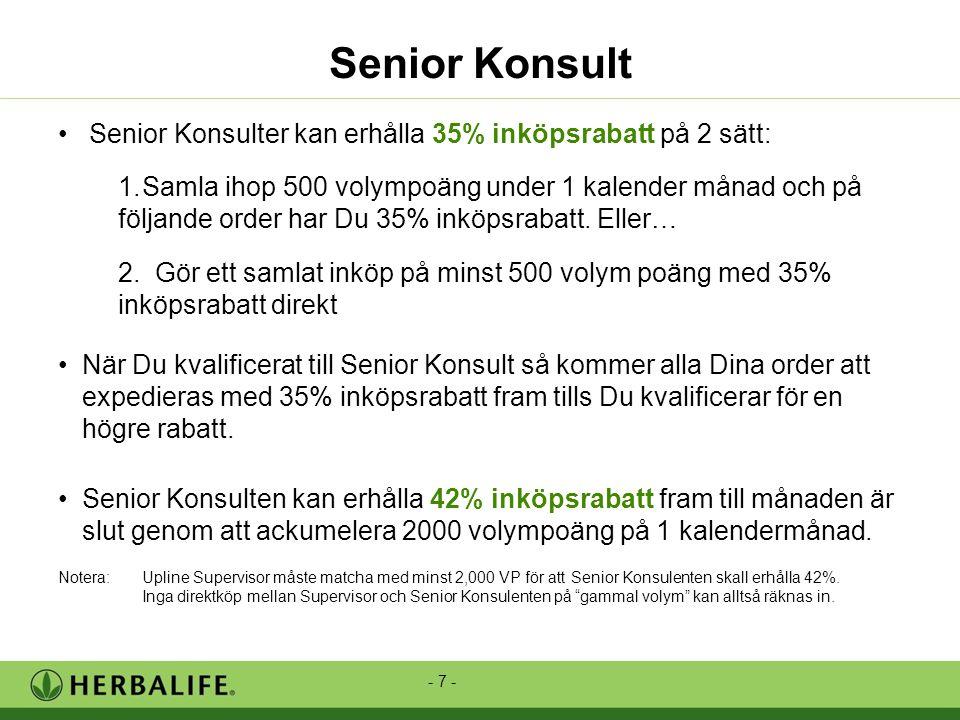 - 7 - • Senior Konsulter kan erhålla 35% inköpsrabatt på 2 sätt: 1.Samla ihop 500 volympoäng under 1 kalender månad och på följande order har Du 35% inköpsrabatt.