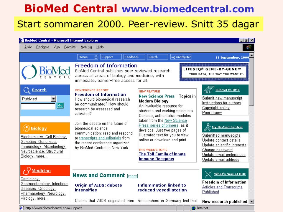 BioMed Central www.biomedcentral.com Start sommaren 2000. Peer-review. Snitt 35 dagar