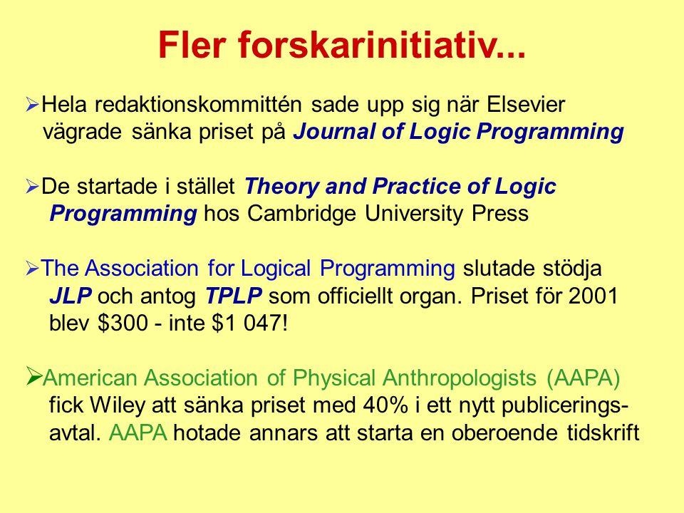 Fler forskarinitiativ...  Hela redaktionskommittén sade upp sig när Elsevier vägrade sänka priset på Journal of Logic Programming  De startade i stä