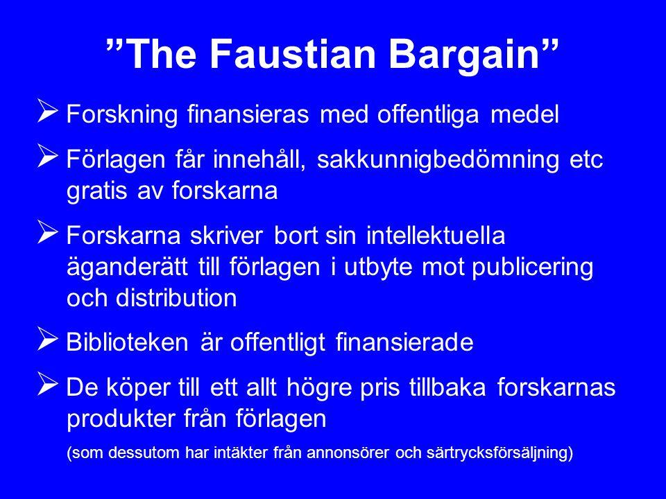 """""""The Faustian Bargain""""  Forskning finansieras med offentliga medel  Förlagen får innehåll, sakkunnigbedömning etc gratis av forskarna  Forskarna sk"""