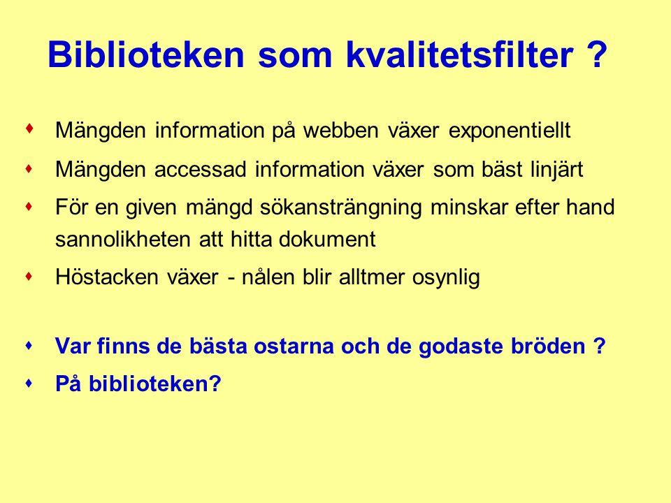 Biblioteken som kvalitetsfilter ?  Mängden information på webben växer exponentiellt s Mängden accessad information växer som bäst linjärt s För en g