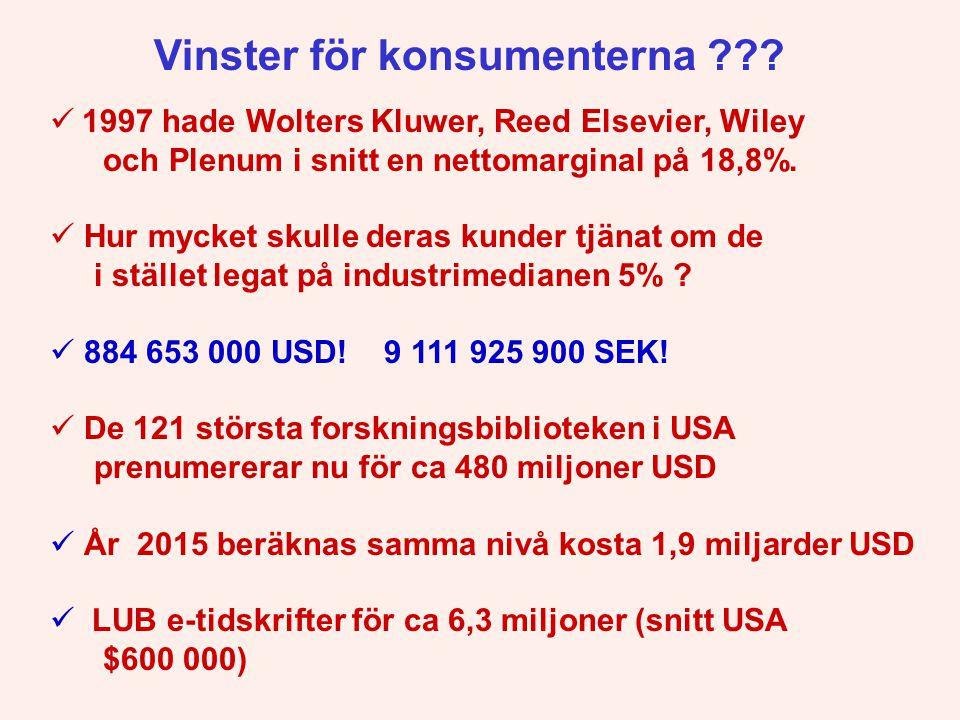  1997 hade Wolters Kluwer, Reed Elsevier, Wiley och Plenum i snitt en nettomarginal på 18,8%.  Hur mycket skulle deras kunder tjänat om de i stället