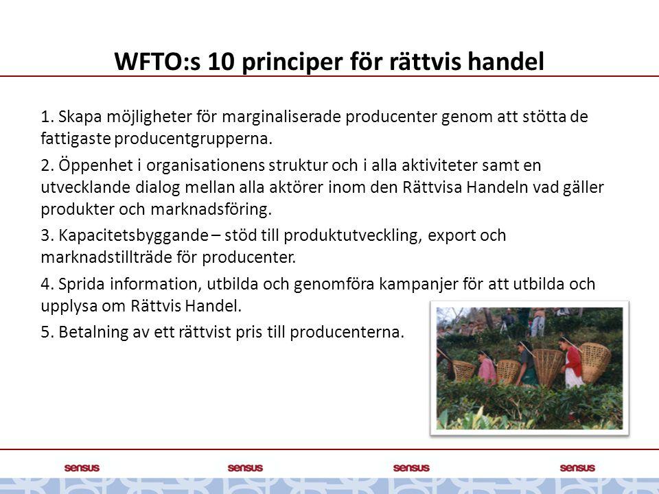 WFTO:s 10 principer för rättvis handel 1. Skapa möjligheter för marginaliserade producenter genom att stötta de fattigaste producentgrupperna. 2. Öppe
