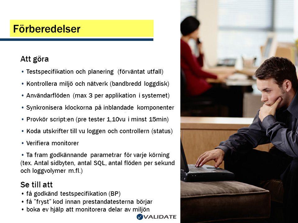 Att göra • Testspecifikation och planering (förväntat utfall) • Kontrollera miljö och nätverk (bandbredd loggdisk) • Användarflöden (max 3 per applika
