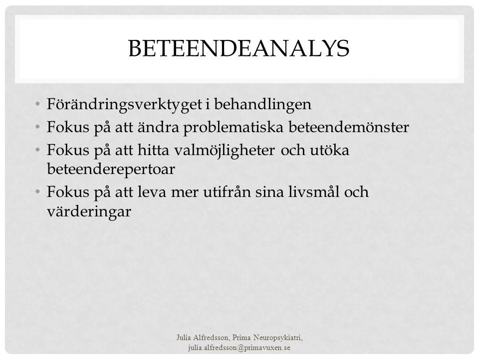 BETEENDEANALYS • Förändringsverktyget i behandlingen • Fokus på att ändra problematiska beteendemönster • Fokus på att hitta valmöjligheter och utöka