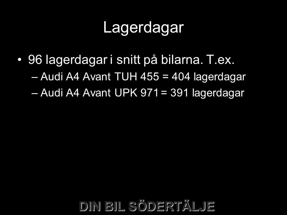 DIN BIL SÖDERTÄLJE Lagerdagar •96 lagerdagar i snitt på bilarna. T.ex. –Audi A4 Avant TUH 455 = 404 lagerdagar –Audi A4 Avant UPK 971= 391 lagerdagar