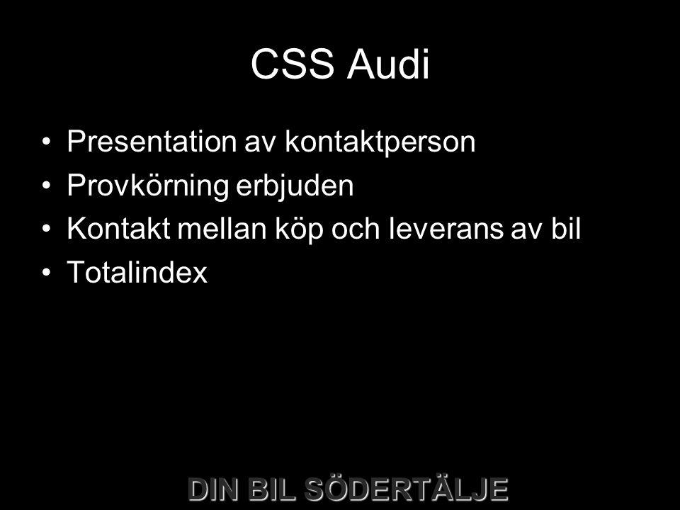 CSS Audi •Presentation av kontaktperson •Provkörning erbjuden •Kontakt mellan köp och leverans av bil •Totalindex