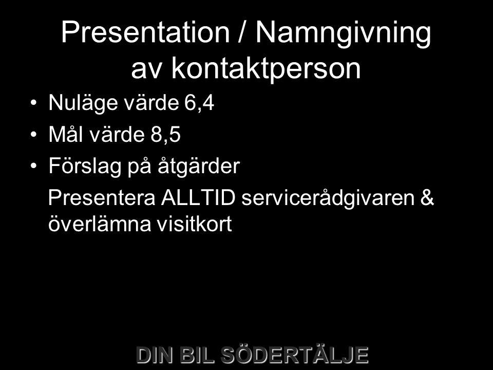 DIN BIL SÖDERTÄLJE Presentation / Namngivning av kontaktperson •Nuläge värde 6,4 •Mål värde 8,5 •Förslag på åtgärder Presentera ALLTID servicerådgivar