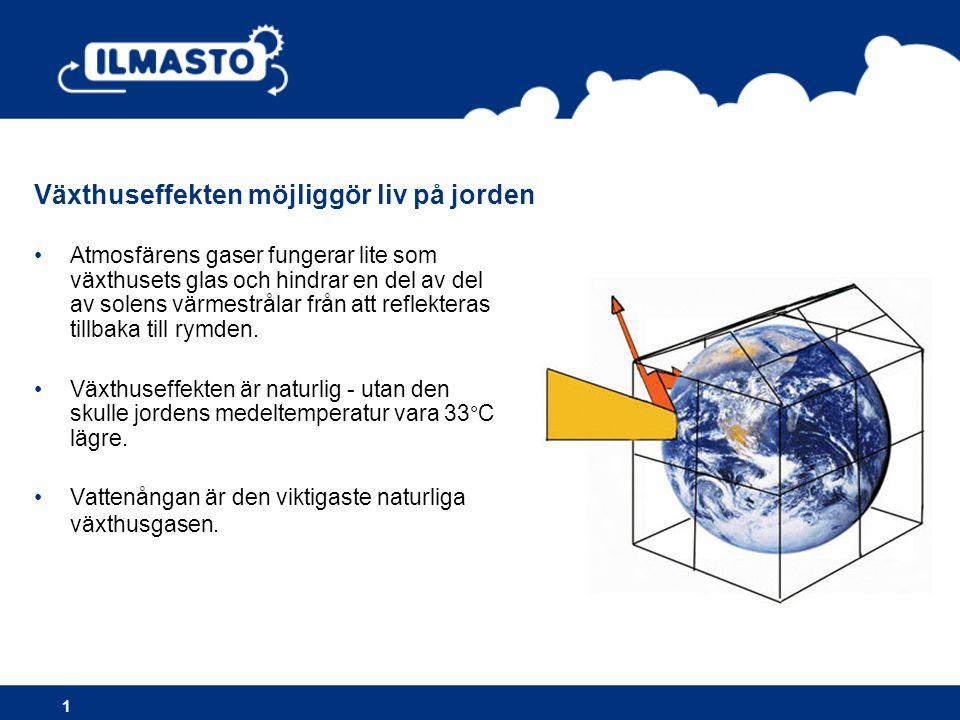 •Atmosfärens gaser fungerar lite som växthusets glas och hindrar en del av del av solens värmestrålar från att reflekteras tillbaka till rymden.