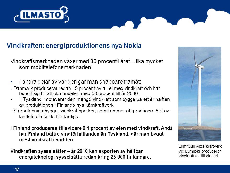 Vindkraften: energiproduktionens nya Nokia 17 Vindkraftsmarknaden växer med 30 procent i året – lika mycket som mobiltelefonsmarknaden.