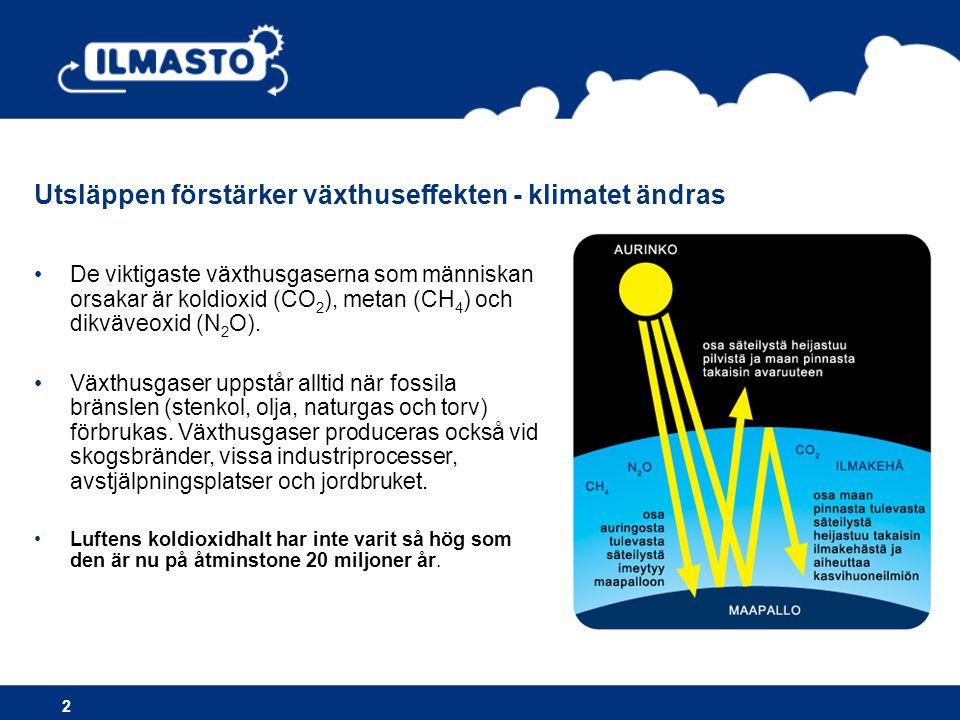 2 •De viktigaste växthusgaserna som människan orsakar är koldioxid (CO 2 ), metan (CH 4 ) och dikväveoxid (N 2 O).