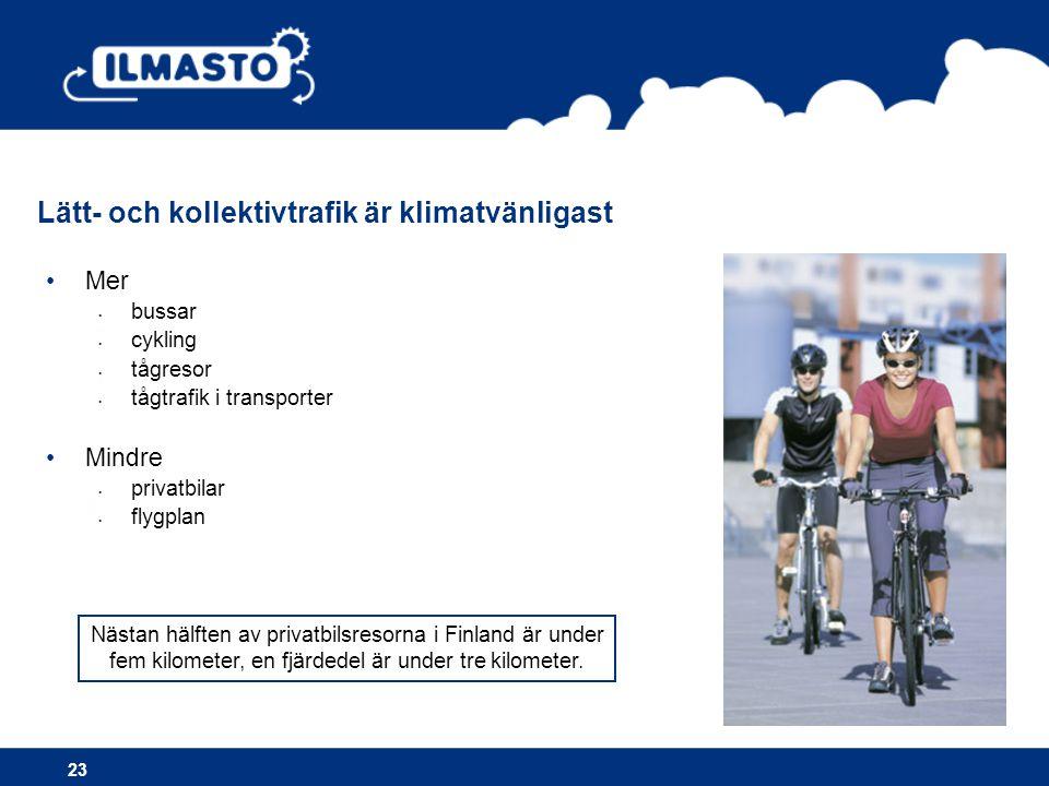 •Mer • bussar • cykling • tågresor • tågtrafik i transporter •Mindre • privatbilar • flygplan Lätt- och kollektivtrafik är klimatvänligast 23 Nästan hälften av privatbilsresorna i Finland är under fem kilometer, en fjärdedel är under tre kilometer.