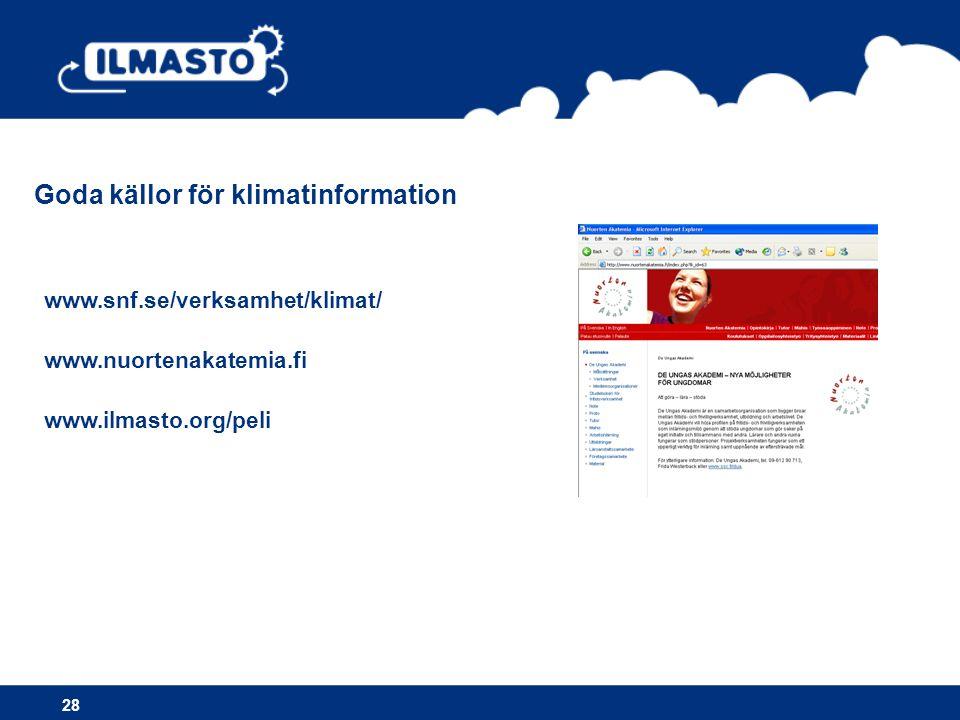 Goda källor för klimatinformation www.snf.se/verksamhet/klimat/ www.nuortenakatemia.fi www.ilmasto.org/peli 28