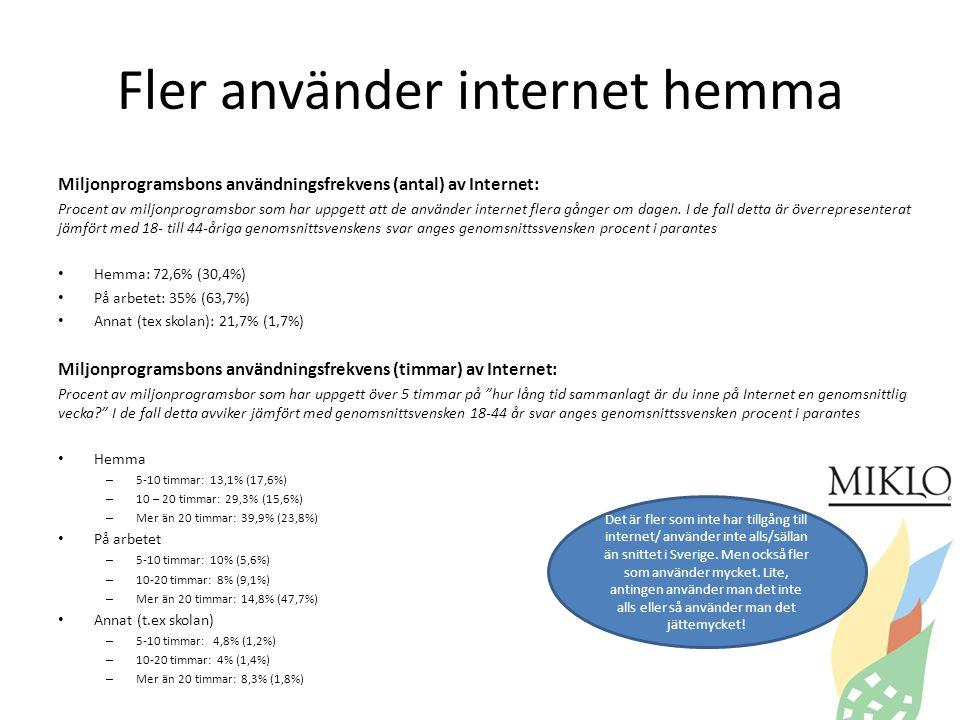 Fler använder internet hemma Miljonprogramsbons användningsfrekvens (antal) av Internet: Procent av miljonprogramsbor som har uppgett att de använder internet flera gånger om dagen.