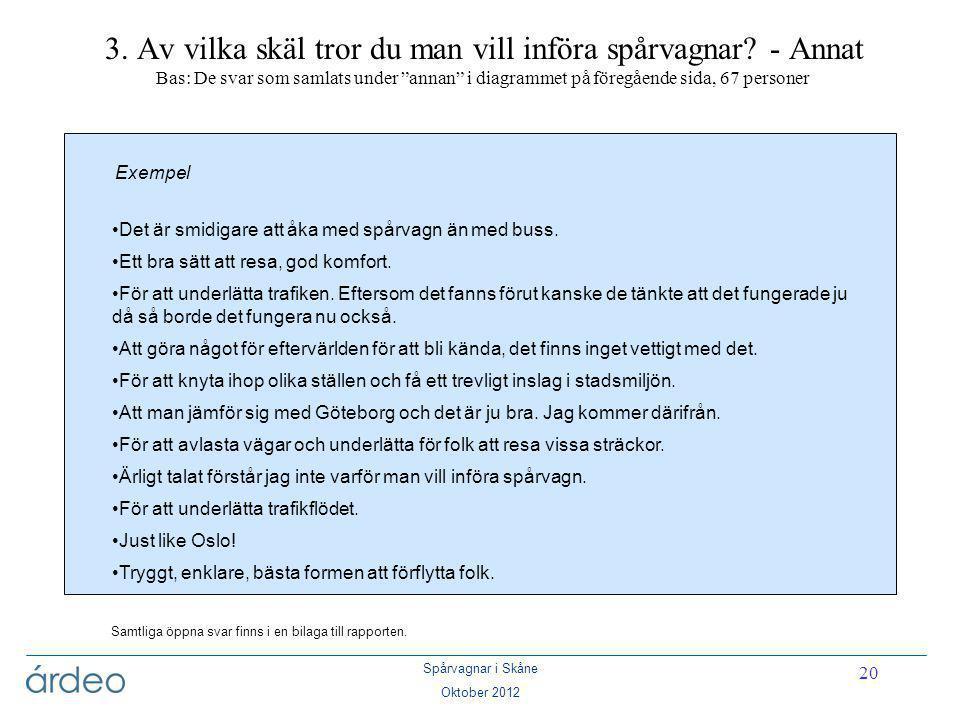 """Spårvagnar i Skåne Oktober 2012 20 3. Av vilka skäl tror du man vill införa spårvagnar? - Annat Bas: De svar som samlats under """"annan"""" i diagrammet på"""
