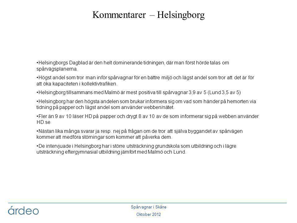 Spårvagnar i Skåne Oktober 2012 •Helsingborgs Dagblad är den helt dominerande tidningen, där man först hörde talas om spårvägsplanerna. •Högst andel s