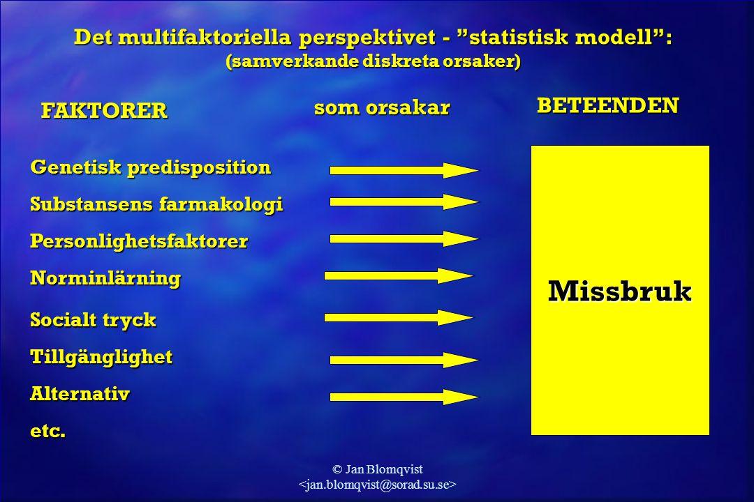 "© Jan Blomqvist Det multifaktoriella perspektivet - ""statistisk modell"": (samverkande diskreta orsaker) Substansens farmakologi Missbruk Personlighets"