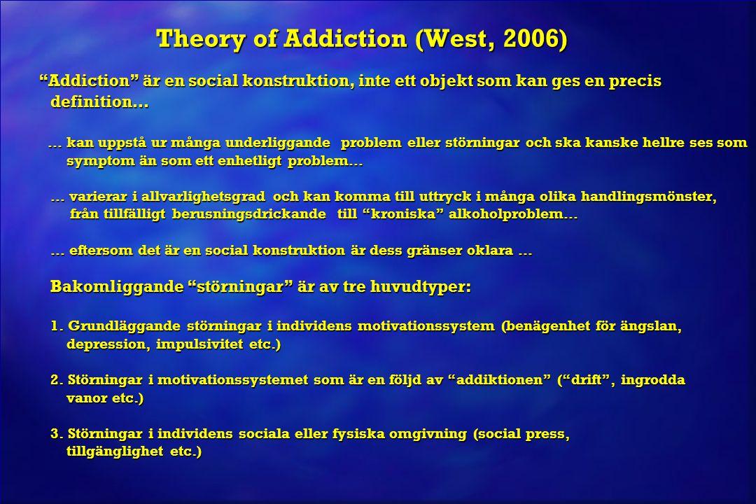 """Theory of Addiction (West, 2006) """"Addiction"""" är en social konstruktion, inte ett objekt som kan ges en precis definition… """"Addiction"""" är en social kon"""
