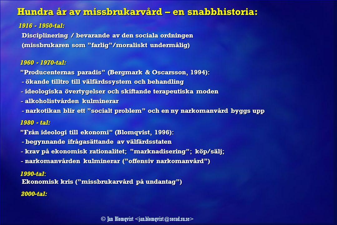 © Jan Blomqvist Hundra år av missbrukarvård – en snabbhistoria: Hundra år av missbrukarvård – en snabbhistoria: 1916 - 1950-tal: 1916 - 1950-tal: Disc