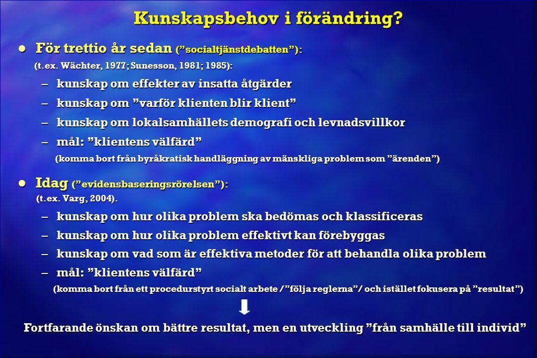 """Kunskapsbehov i förändring? l För trettio år sedan (""""socialtjänstdebatten""""): (t.ex. Wächter, 1977; Sunesson, 1981; 1985): (t.ex. Wächter, 1977; Suness"""