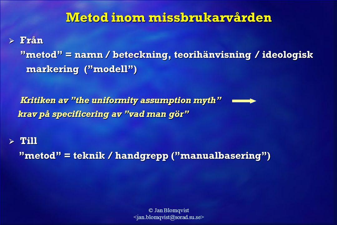"""© Jan Blomqvist Metod inom missbrukarvården  Från """"metod"""" = namn / beteckning, teorihänvisning / ideologisk markering (""""modell"""") markering (""""modell"""")"""