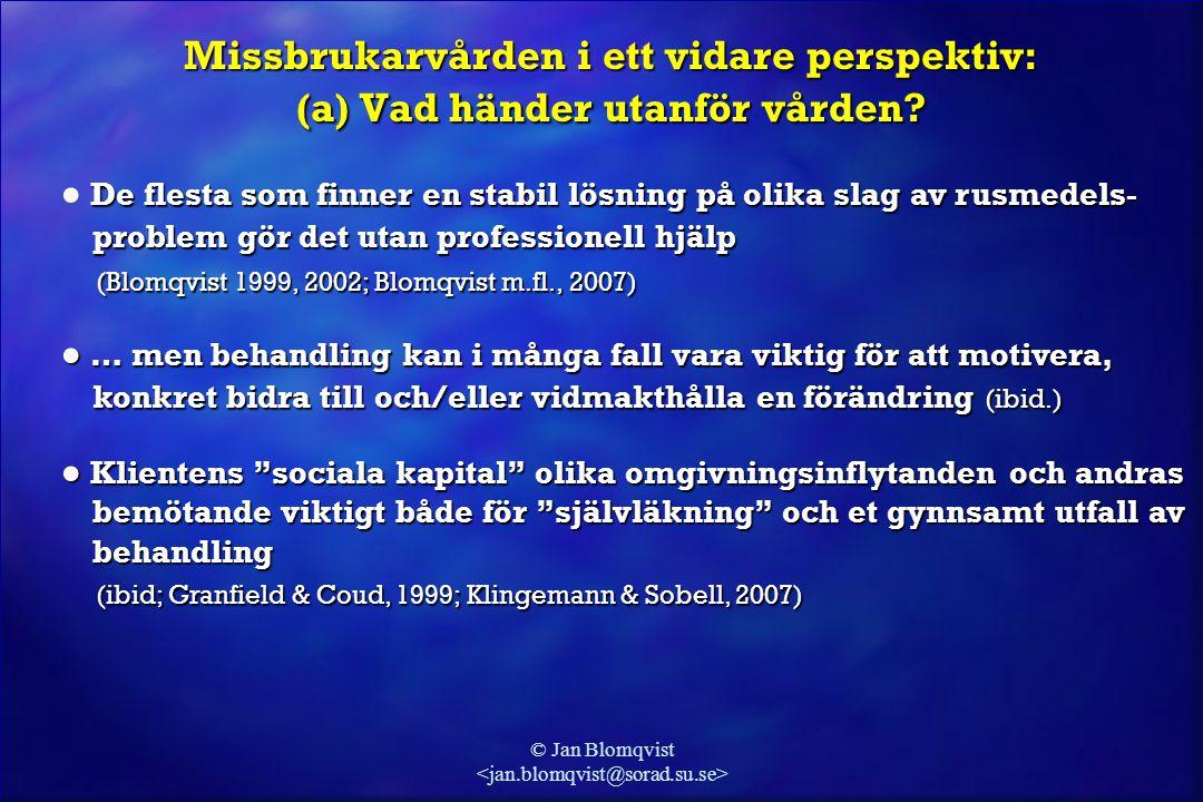 © Jan Blomqvist Missbrukarvården i ett vidare perspektiv: (a) Vad händer utanför vården? De flesta som finner en stabil lösning på olika slag av rusme