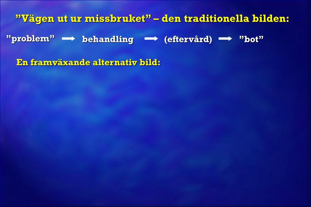 """""""problem"""" behandling""""bot"""" En framväxande alternativ bild: En framväxande alternativ bild: """"Vägen ut ur missbruket"""" – den traditionella bilden: """"Vägen"""