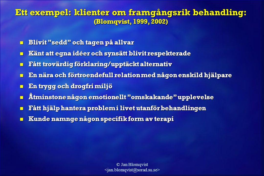 """© Jan Blomqvist Ett exempel: klienter om framgångsrik behandling: (Blomqvist, 1999, 2002) n Blivit """"sedd"""" och tagen på allvar n Känt att egna idéer oc"""