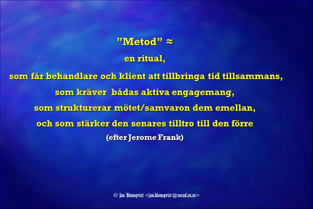 """© Jan Blomqvist """"Metod"""" ≈ en ritual, som får behandlare och klient att tillbringa tid tillsammans, som får behandlare och klient att tillbringa tid ti"""