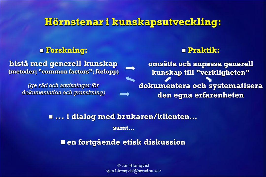 """© Jan Blomqvist Hörnstenar i kunskapsutveckling:  Forskning: bistå med generell kunskap (metoder; """"common factors""""; förlopp) (ge råd och anvisningar"""
